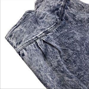 Vintage 90s XS Denim Tube Skirt Midi Acid Wash